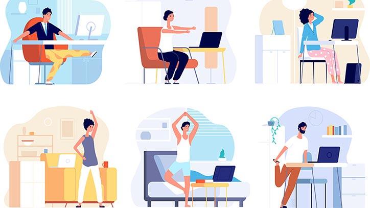 Auf sechs gezeichneten Schaubildern machen Figuren Gymnastik im Homeoffice.