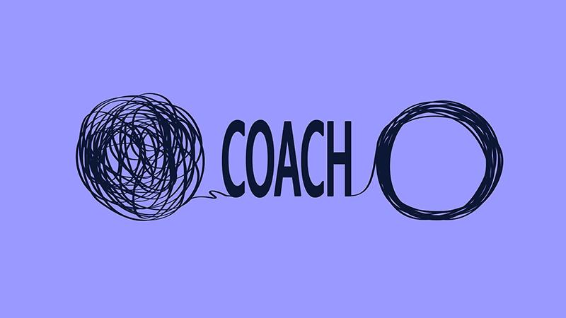 Ein Wollknäuel führt zum Wort Coach und ist dahinter entwirrt.