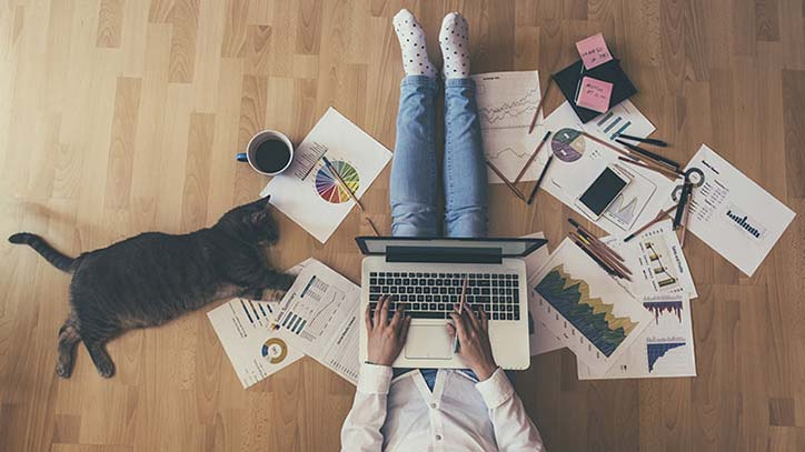 Jemand sitzt mit Laptop auf dem Boden, runderhum Papiere, eine Tasse, eine Katze.