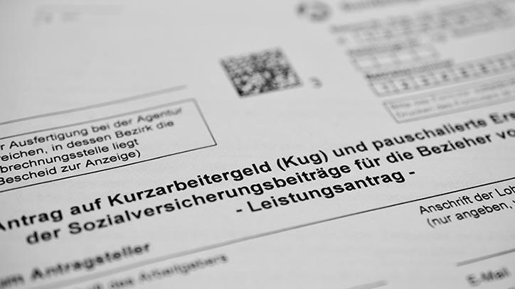 Ein Antragsbogen für Kurzarbeit