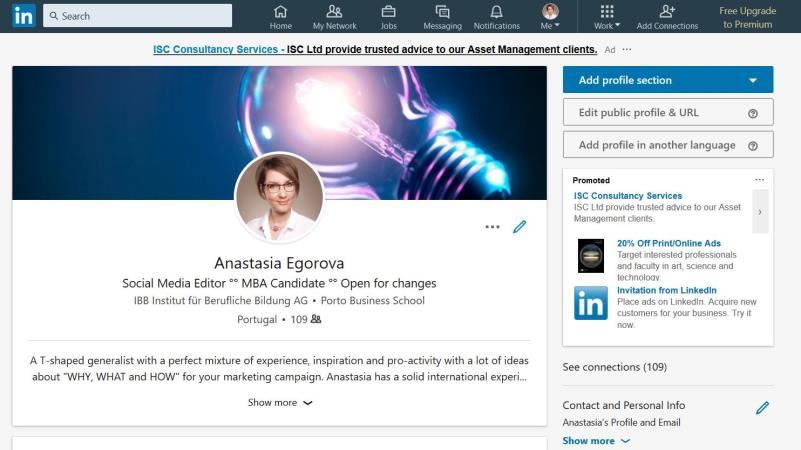 Screenshot von einem LinkedIn-Profil mit Foto und Selbstbeschreibung