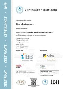 Musterzertifikat der Deutschland.University für die Weiterbildung zum Change Manager