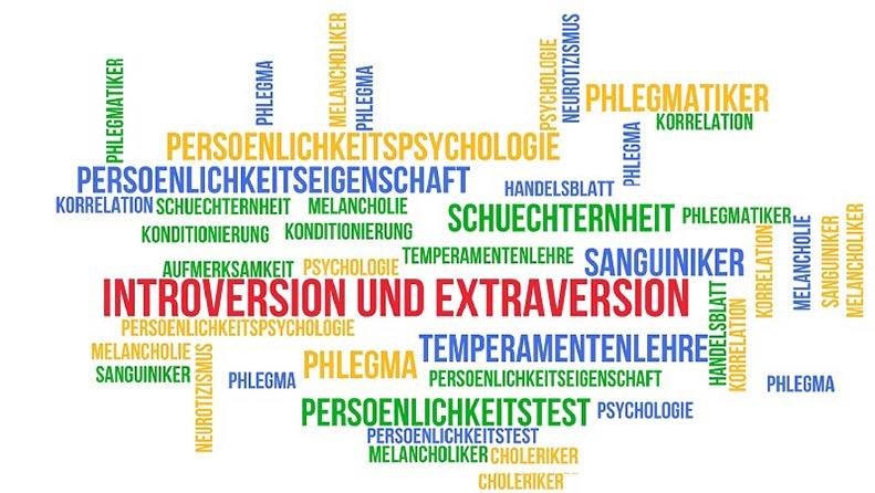 Verschiedene Begriffe aus dem Bereich der Persönlichkeitsforschung stehen durcheinander.