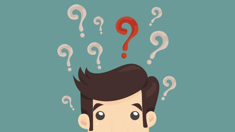 Illustration von einem Mann mit Fragezeichen über dem Kopf