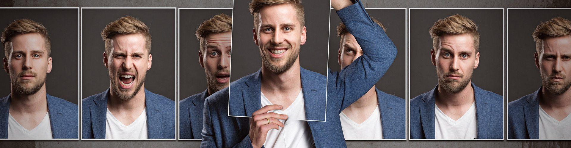 Fotomontage eines Mannes aus verschiedenen Schnappschüssen