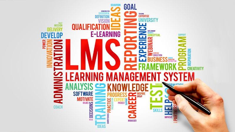Eine Grafik mit verschiedenen LMS-relevanten Begriffen in Englisch